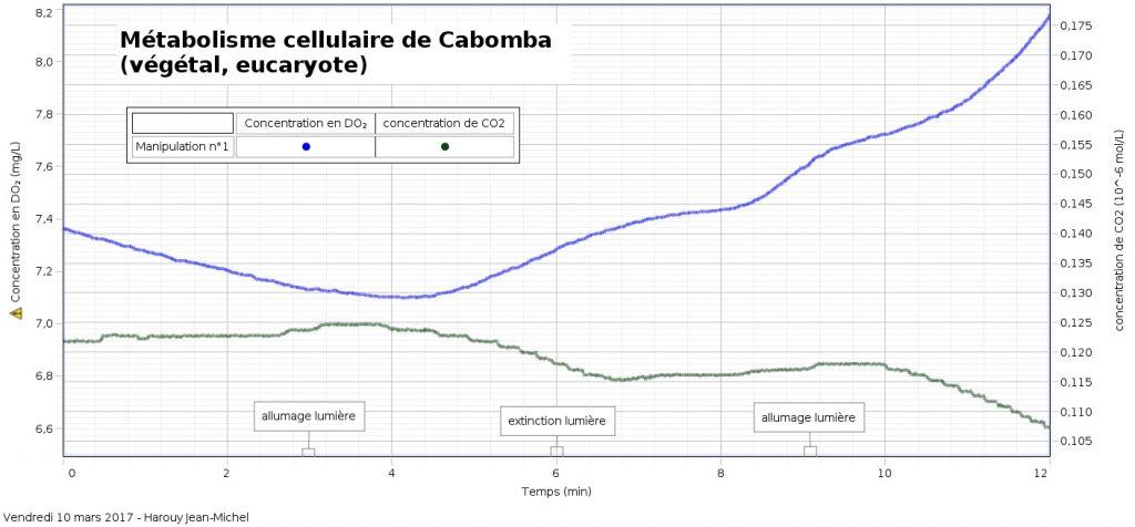 Enregistrement des concentrations en dioxygène et dioxyde de carbone du milieu dans lequel baignent des feuilles de Cabomba, en fonction des conditions d'éclairement
